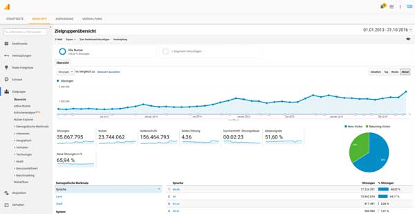 Die Websitedaten visualisieren wir mit Google Analytics
