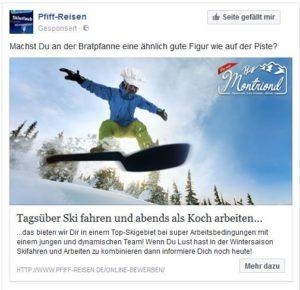 Facebook Werbung Pfiff-Reisen
