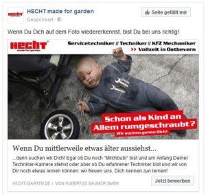 Facebook Werbung Hecht-Garten