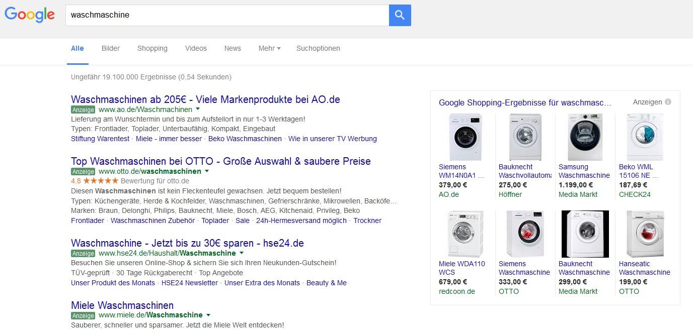 Ausschnitt aus der Google Shopping Suche