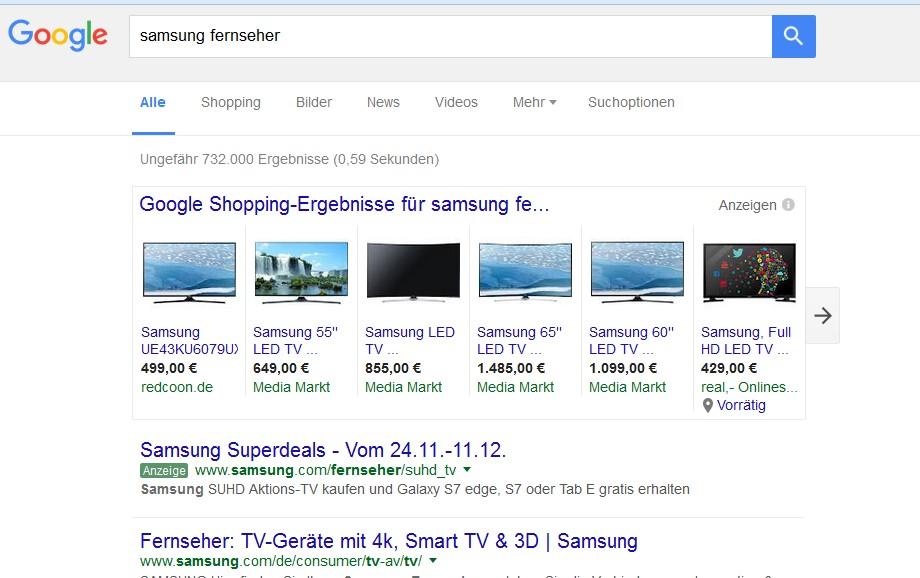 Google Shopping Suche Ausschnitt