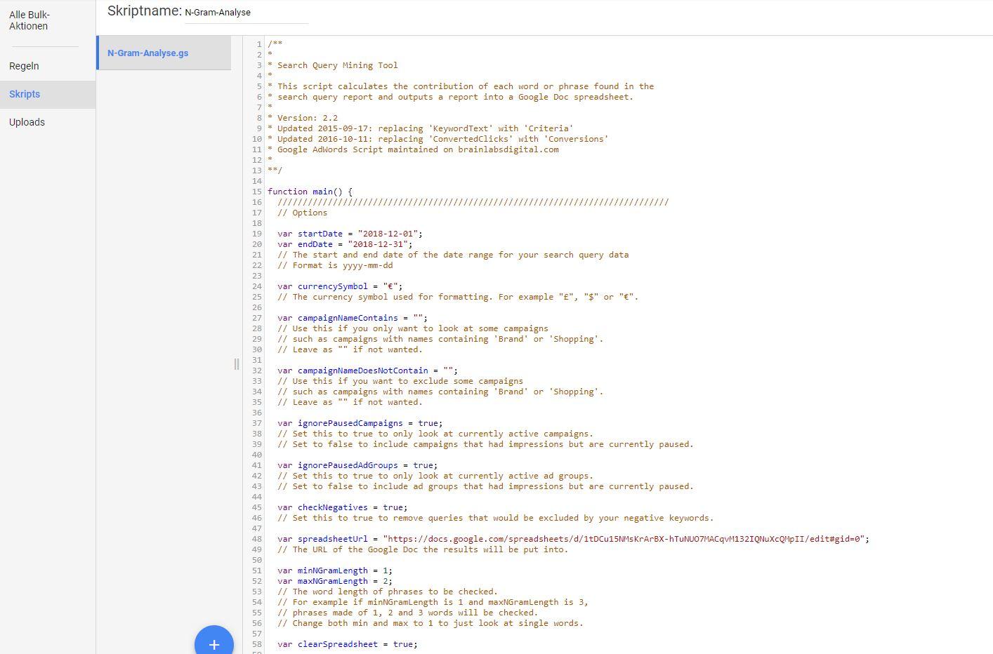 N-Gram-Analyse AdWords Script
