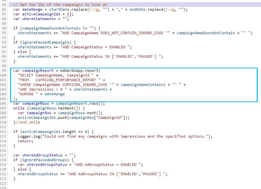 Einschränkung Kampagnen-IDs Google-Ads-Script