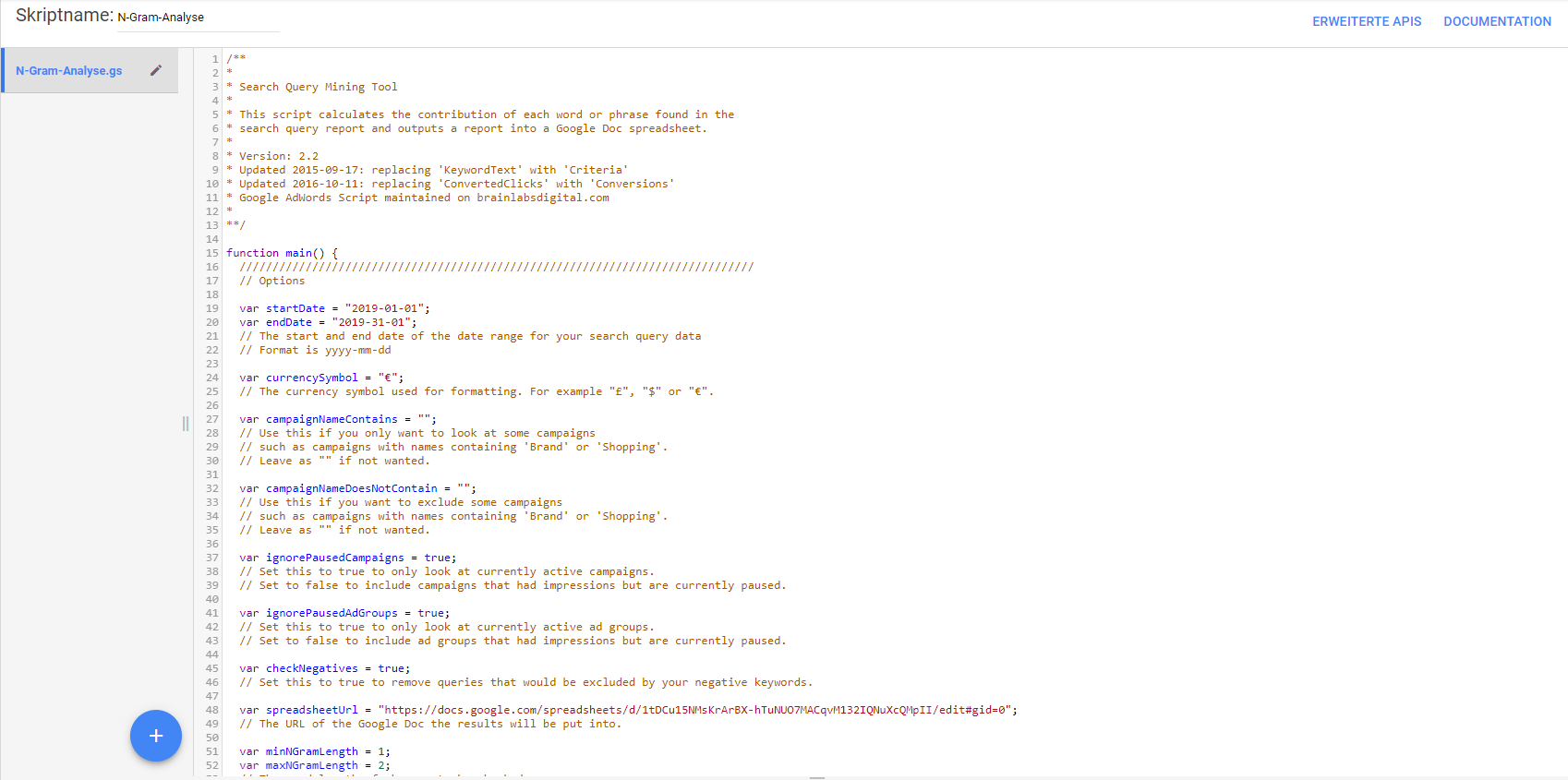 Ausschnitt Google-Ads-Script N-Gram-Analyse